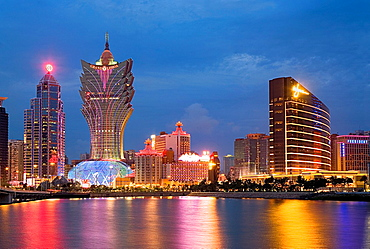 City Skyline with Bank of China Building, Grand Lisboa Hotel-Casino and Wynn Hotel-Casino,Macau,China