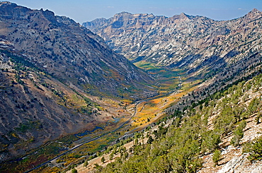 Ruby Mountains, Lamoille Canyon from the Ruby Crest in the Ruby Mountains near the city of Elko in northeast Nevada