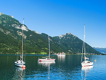 Lake Achensee in Tyrol, Austria  Sailing boats in the harbour of Pertisau  This mountain lake seperates the Karwendel mountain ranges from the Brandenberger Alps with the Rofan mountains next to the lake  Europe, Central Europe, Austria, Tyrol, August