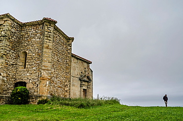 San Pedro Fortified church in Orena of Alfoz de Lloredo. Cantabria coastline, Spain