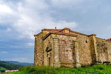 San Pedro Fortified church in Orena of Alfoz de Lloredo. Cantabria coastline, Spain