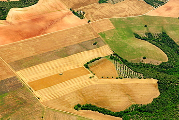 Aerial view of Cordeil farmland with wheat harvest, North of Valensole town, plateau Valensole, Alpes de haute Provence, France