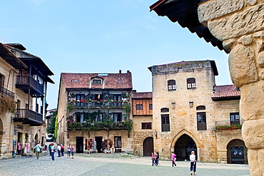 Borja Tower in Ramon Pelayo Square, before called Market Square, in Santillana del Mar, declarated Historical-Artistic Site  Cantabria  Spain