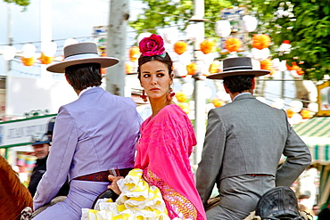 April Fair, Couple in a traditional costumes on a horse, Sevilla, Spain