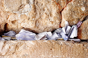 Notes to God in the Western Wall in Jerusalem, Israel