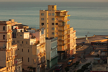 Cuba, Havana, elevated city view above Paseo de Marti, morning