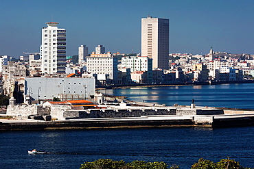 Cuba, Havana, elevated view of the Malecon from the Castillo de los Tres Santos Reys del Morro fortress