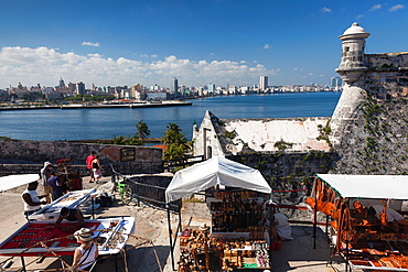 Cuba, Havana, Castillo de los Tres Santos Reys del Morro fortress, tourists, NR