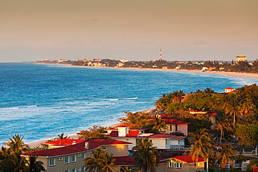 Cuba, Matanzas Province, Varadero, Varadero Beach, elevated view, dusk