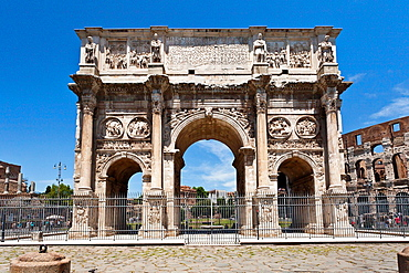 The Arch of Constantine near the Colesiem in Rome, Italy