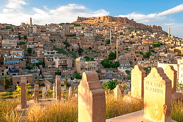 View from the Cemetery on the Mardin city, Anatolia, Eastern Turkey