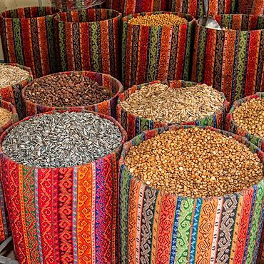 Mardin market, Bags with nuts, Anatolia, Eastern Turkey