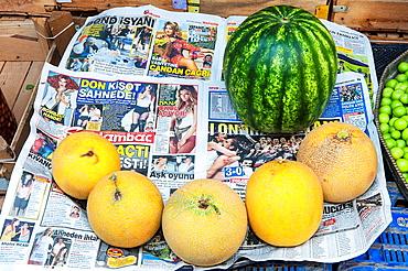 Mardin market, Fruit displayed on a newspaper, Anatolia, Eastern Turkey