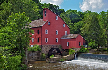 Faded Red Water Mill on the Dam of the Raritan River