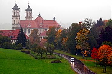 Ottobeuren, Bavaria, Southern Germany, Ottobeuren Abbey hailed as a pinnacle of Bavarian Baroque architecture, Benedictine monastery, autumn scene