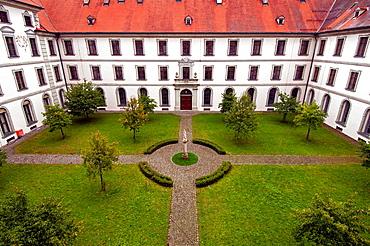 Ottobeuren, Bavaria, Southern Germany, Benedictine monastery courtyard