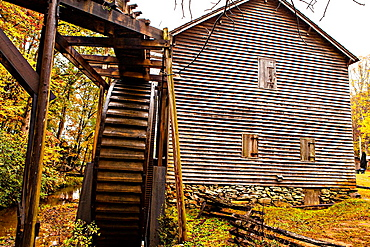 Colorful autumn foliage at Haygood Mill, a working gristmill near Pickens, South Carolina