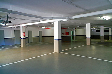 Garage and storage rooms of a building