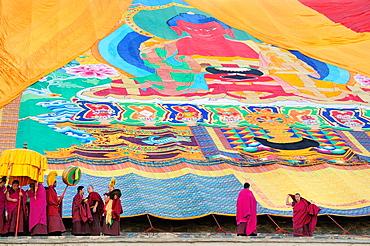 China, Gansu, Amdo, Xiahe, Monastery of Labrang Labuleng Si, Losar New Year festival, Unfurling of the giant Thangka