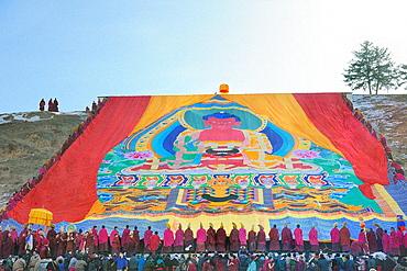 China, Gansu, Amdo, Xiahe, Monastery of Labrang Labuleng Si, Losar New Year festival, Display of the giant Thangka