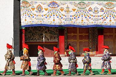 China, Gansu, Amdo, Xiahe, Monastery of Labrang Labuleng Si, Losar New Year festival, Guards pocession