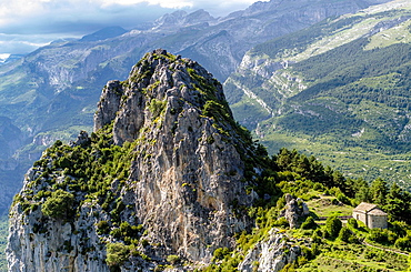 San Juan y San Pablo chapel in Tella, Escuain valley, Huesca Pyrenees, Aragon, Spain