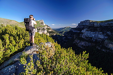 Photographer in Ordesa & Monte Perdido National Park, Huesca, Aragon, Spain Pyrenees