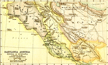 Map of Babylon, Assyria, Media and Susiana, countries of the Jewish Captivities  From The Holy Bible published c 1910