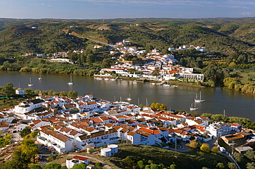 Panoramic view with Guadiana river, Spanish-Portuguese border, Sanlucar de Guadiana, Huelva-province, Spain, In the background Alcoutim Portugal