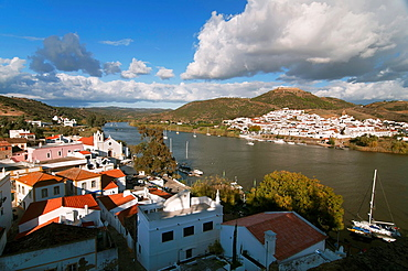 Panoramic view with Guadiana river, Spanish-Portuguese border, Alcoutim Portugal, In the background Sanlucar de Guadiana, Huelva, Spain