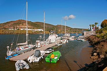 Guadiana river and boats, Spanish-Portuguese border, Sanlucar de Guadiana, Huelva-province, Spain, In the background Alcoutim Portugal