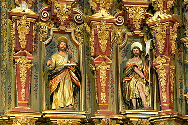 Church of San Sebastian-detail of the altarpiece, Higuera de la Sierra, Huelva-province, Spain