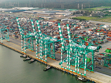 The container shipping terminal in Johor, Malaysia