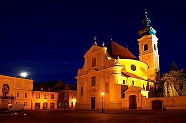 Carmelite church at night,  Gyor  Hungary