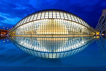 LÂ¥Hemisferic,The City of Arts and Science, designed by Santiago Calatrava,Valencia,Spain