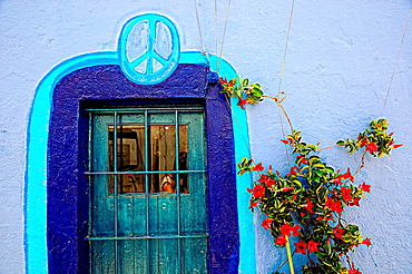 Colourful painted wall  Formentera, Balearic Islands, Spain