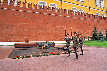 Famous Kremlin Wall Unknown Soldiers Flame Alexander Garden at Red Square in Moscow Russia