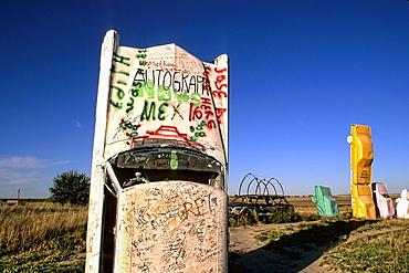 Graffiti on cars designed 1987 by a Reindeers family in Alliance Nebraska