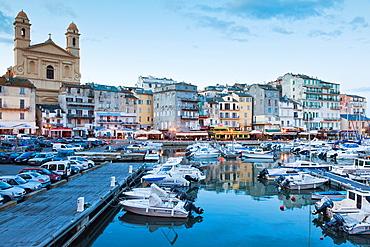 France, Corsica, Haute-Corse Department, Le Cap Corse, Bastia, view of the Old Port, dusk