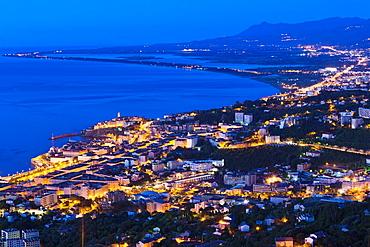 France, Corsica, Haute-Corse Department, Le Cap Corse, Bastia, elevated city view from the Bastia Corniche, dawn