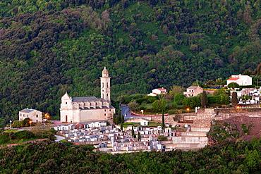 France, Corsica, Haute-Corse Department, Le Cap Corse, Bastia Corniche, elevated view of Ste-Lucie, dawn