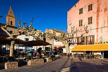France, Corsica, Haute-Corse Department, Le Nebbio Region, St-Florent, Quai de Honneur cafes, NR
