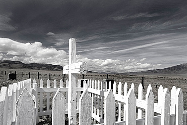 Black and white version of a Pioneer Era Cemetary