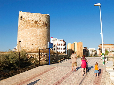 Old windmill on the seafront in Calpe Alicante Spain