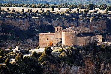 Chapel of San Frutos in Hoces del Duraton nature park, near Villaseca, Segovia province, Spain