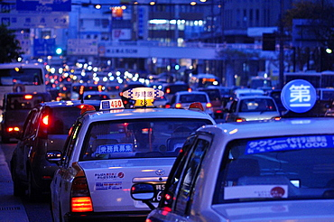 Naha, Okinawa, Japan, taxis and other cars along the Route 58 at night