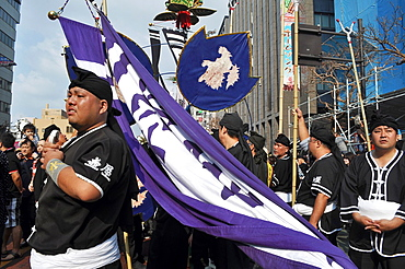 Naha, Okinawa, Japan, people along the Route 58 during the Tug of war Festival, October
