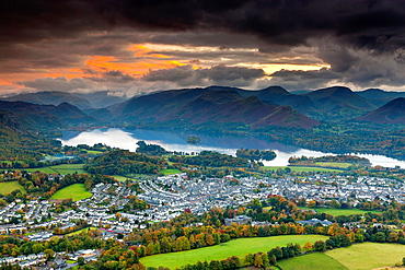 View over Keswick and Derwent Water from Latrigg summit in the Lake District National Park, Keswick, Cumbria, England, UK, Europe