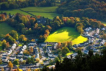 View from Latrigg summit towards Keswick, Lake District National Park, Cumbria, England, UK, Europe