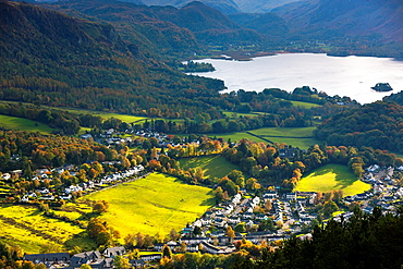 View over Keswick and Derwent Water from the Skiddaw Range, Lake District National Park, Cumbria, England, UK, Europe